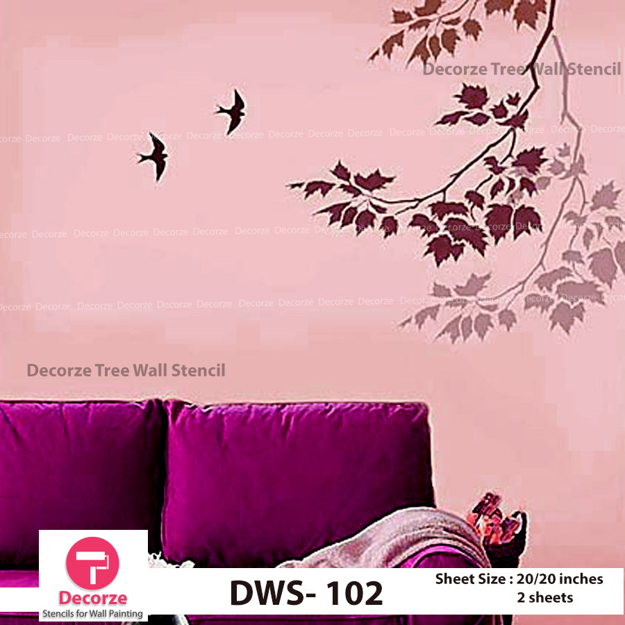 Maple Leaves Branch Stencils | Maple Leaves Stencil | Maple Tree branch wall Painting Designs | Painting Ideas DWS-102