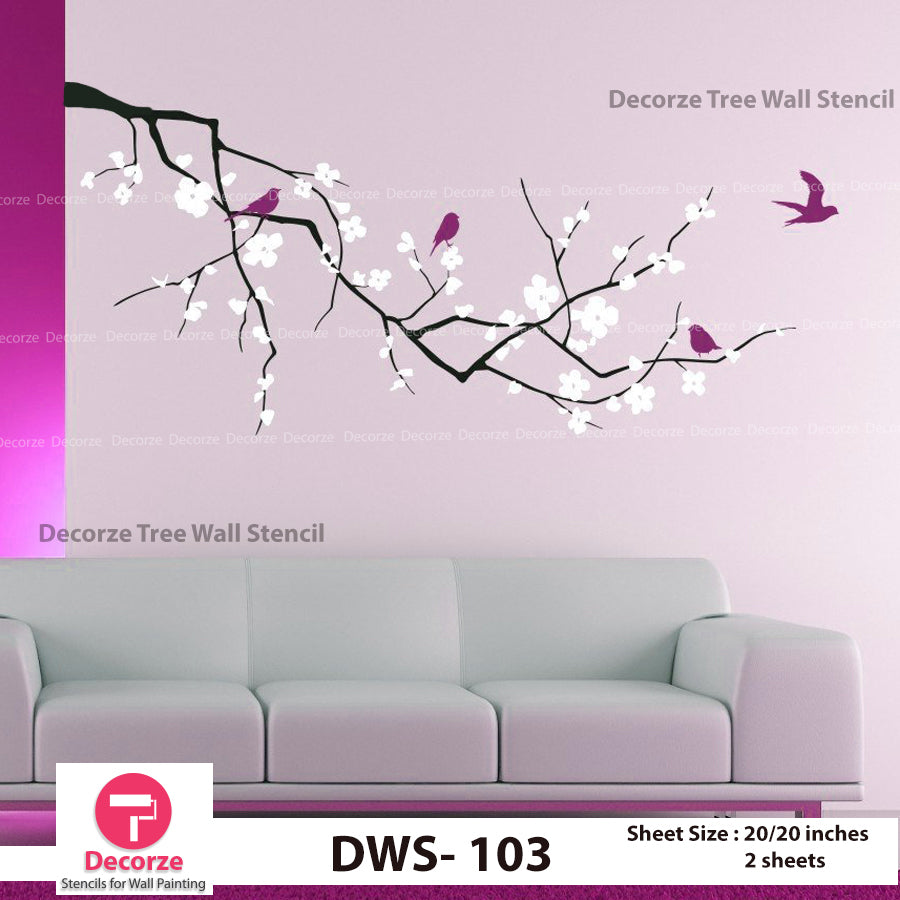 Tree Branch Floral Art painting Ideas | Leaves Branch Stencil | Wall Painting Designs | Painting Ideas DWS-103
