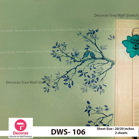 Tree Branch with Birds Stencil | Wall Painting Designs| Painting Ideas DWS-106