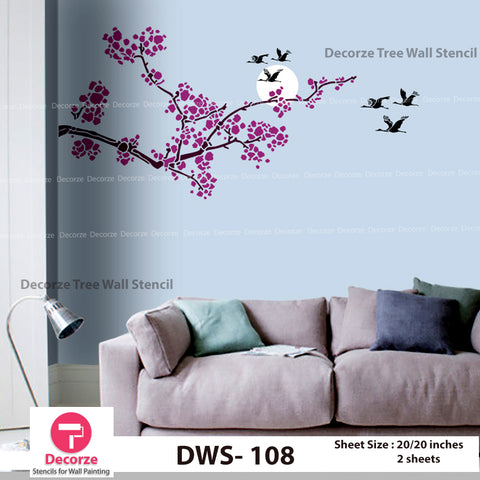 Tree branch stencil for bedroom walls| Wall Painting Designs| Wall Painting Designs| Painting Ideas DWS-108