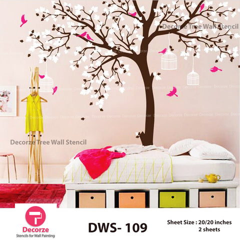 Tree branch with birds and cage Stencil | Wall Painting Designs| Painting Ideas DWS-109