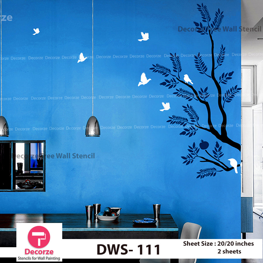 Tree Branch Birds Stencil for Living Room | Wall Painting Designs| Painting Ideas DWS-111