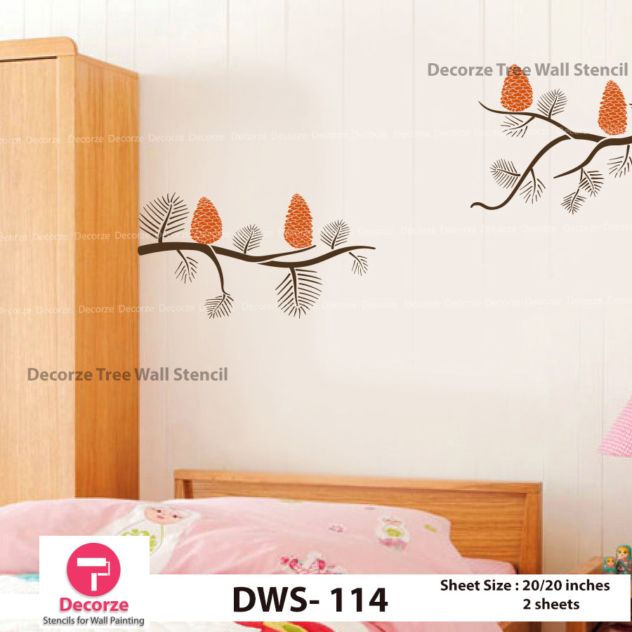 Pine Tree wall stencil | Wall Painting Designs| Painting Ideas DWS-114