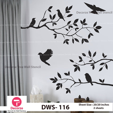 Tree Branch Stencil | Birds Stencil | Wall Painting Designs| Painting Ideas DWS-116