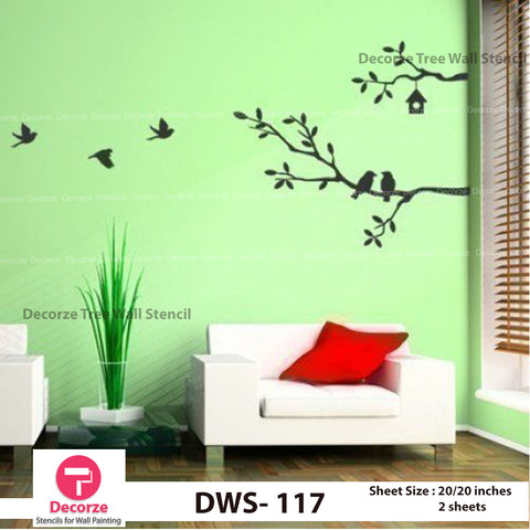 Tree Branch Birds Stencil | Wall Painting Designs| Painting Ideas DWS-117