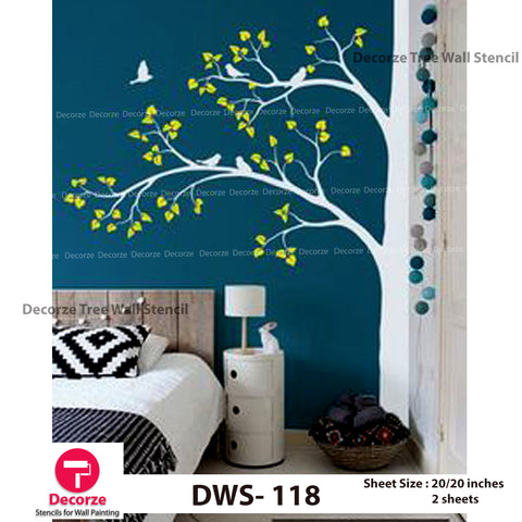 Large Tree Stencil | Birds Stencil for Bed Room | Wall Painting Designs| Painting Ideas DWS-118