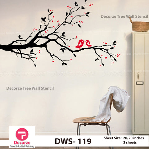 Love Tree Stencil | Tree and Birds Stencil | Wall Painting Designs| Painting Ideas DWS-119