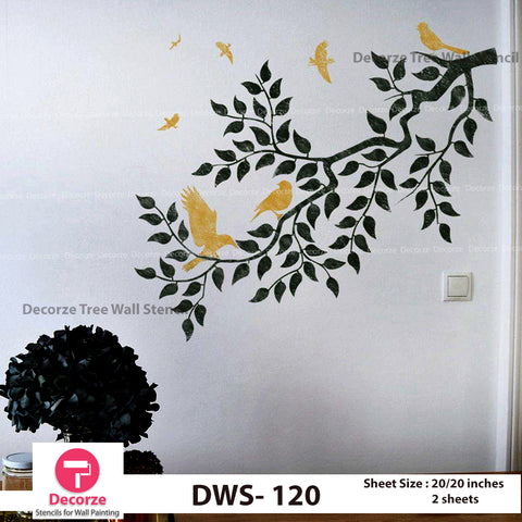 Tree Branch Stencil | Birds stencil | Wall Painting Designs| Painting Ideas DWS-120