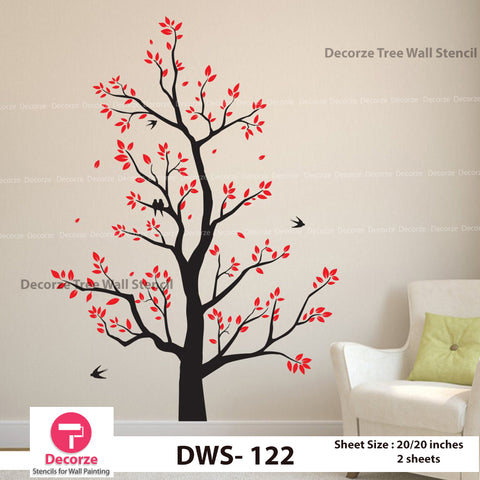 Tree with Birds Stencil | Wall Painting Designs| Painting Ideas DWS-122