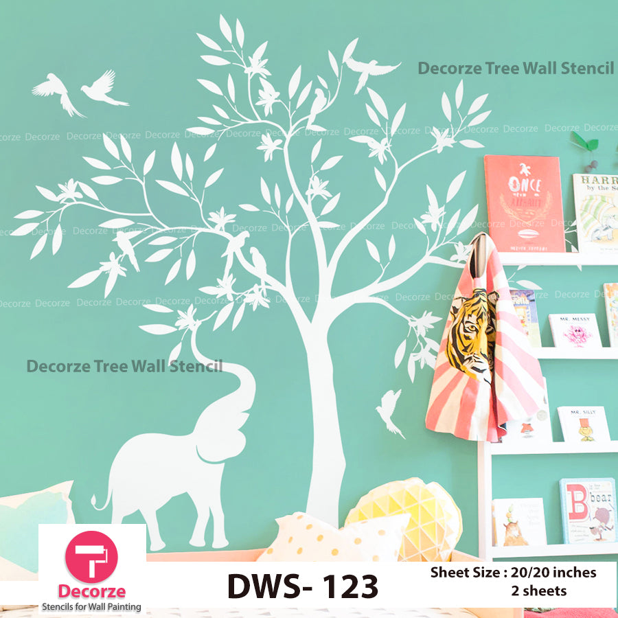Big Tree with Birds and Elephant Stencil | Wall Painting Designs| Painting Ideas DWS-123