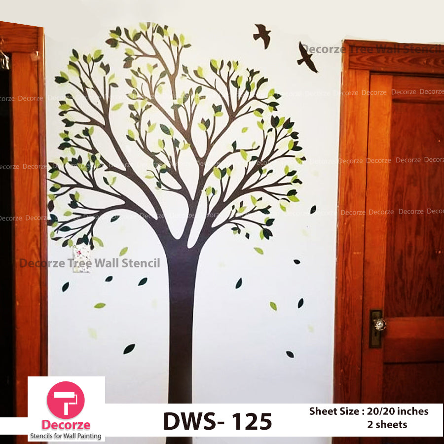 Wind Tree with Flying Birds and falling leaves wall Stencil | Wall Painting Designs| Painting Ideas DWS-125