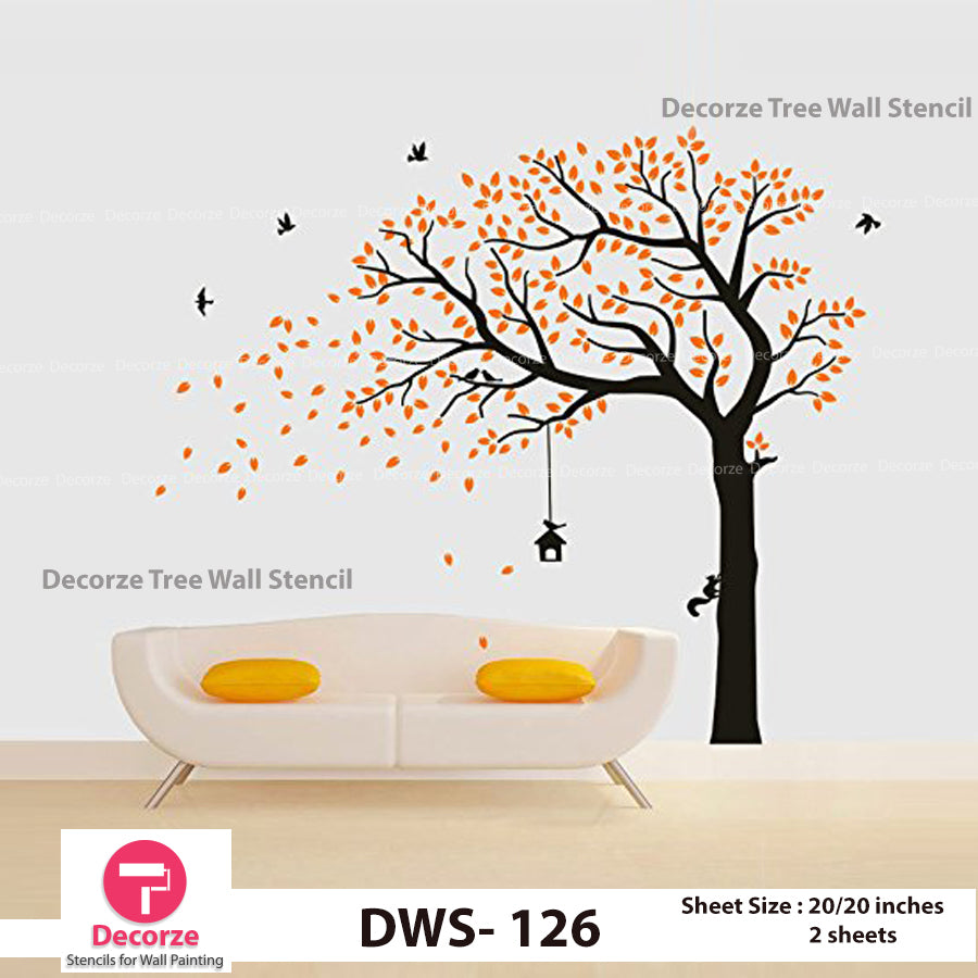 Autumn Tree Falling Leaves and Flying Birds Wall Stencil | Wall Painting Designs| Painting Ideas DWS-126