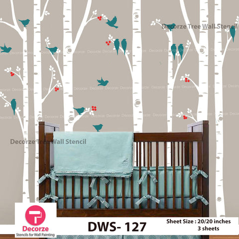 Tree branch with Birds Wall Stencil | Wall Painting Designs| Painting Ideas DWS-127