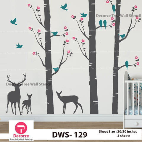 Birch Tree with Flowers Stencil | Birds and Deer Stencil | Wall Painting Designs| Painting Ideas DWS-129