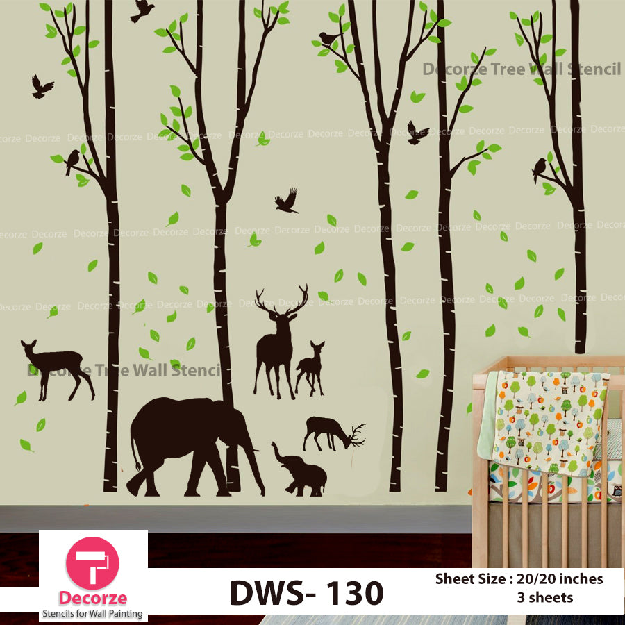 Forest Stencil | Birch Tree Falling Leaves Stencil | Birds Deer and Elephant wall stencil | Painting Ideas DWS-130