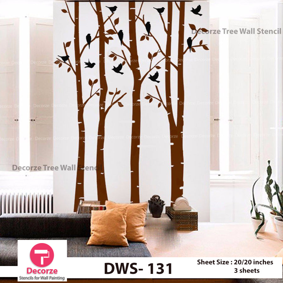 Birch Tree with birds wall Stencil | Wall Painting Designs| Painting Ideas DWS-131