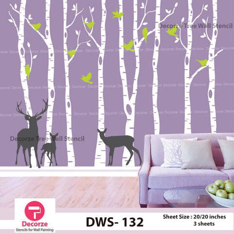 Birch Tree with birds and Deer's wall Stencil | Wall Painting Designs| Painting Ideas DWS-132