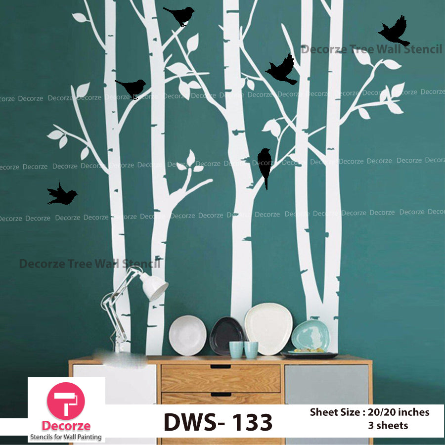Birch Tree and Birds Wall Stencil | Wall Painting Designs| Painting Ideas DWS-133