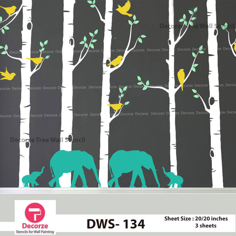 Birch Tree with Birds and Elephant Wall stencil | Wall Painting Designs| Painting Ideas DWS-134