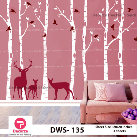 Birch Tree with Birds and Deer Wall stencil  | Wall Painting Designs| Painting Ideas DWS-135