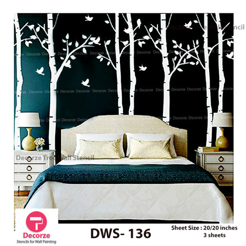 Birch Tree wall Stencil for Bedroom | Wall Painting Designs| Painting Ideas DWS-136