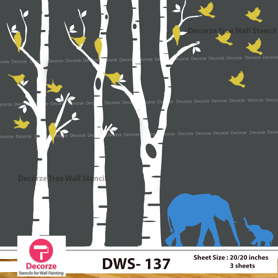 Birch Tree with Birds and Elephant Wall Stencil| Wall Painting Designs| Painting Ideas DWS-137