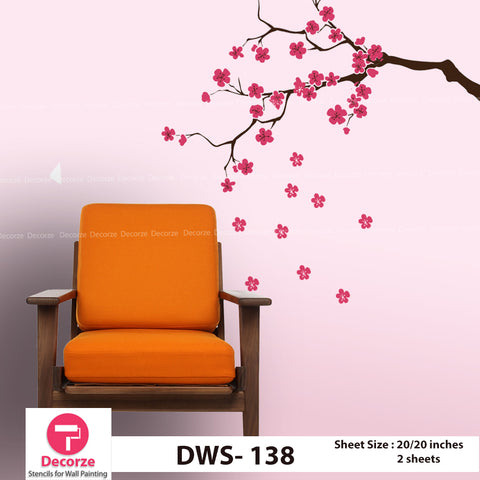 Tree Branch and Cherry Blossom Tree Wall Stencil | Wall Painting Designs| Painting Ideas DWS-138
