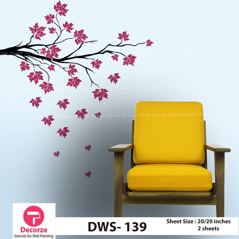 Tree Branch with Maple Leaf Wall Stencil  | Wall Painting Designs| Painting Ideas DWS-139