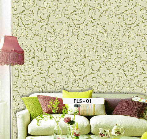 Floral Stencil Design for Living Room, FLS - 01