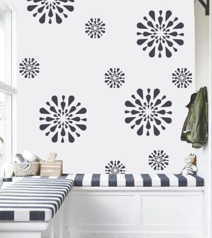 Flower wall stencil for girls room, FS-12