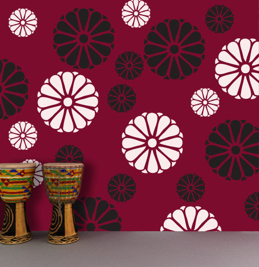 flower stencils 17,and wall decoration