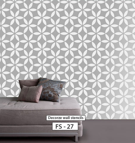 Flower decorating ideas for wall, Flower stencil, FS-27