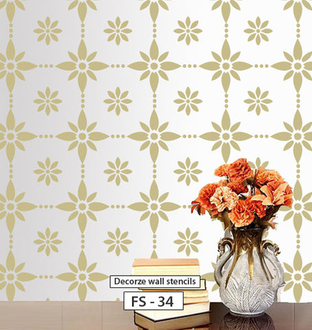 Wall room decor using decorze flower stencil, FS-34