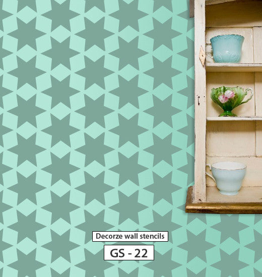 Geometric wall stencil for wall, DIY home wall decor, GS-22