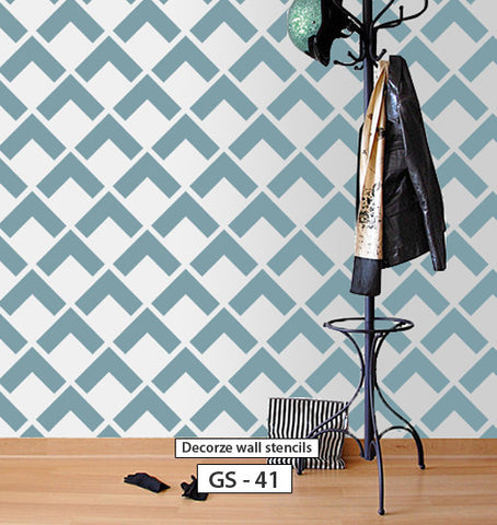 Geometric pattern stencil for wall design, DIY home decor, GS-41
