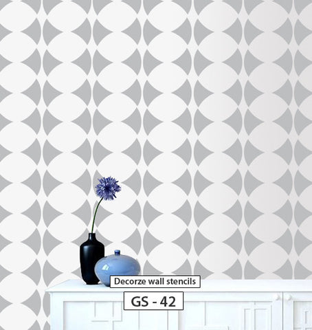 Wall paint ideas for living room, Geometric stencil, GS-42