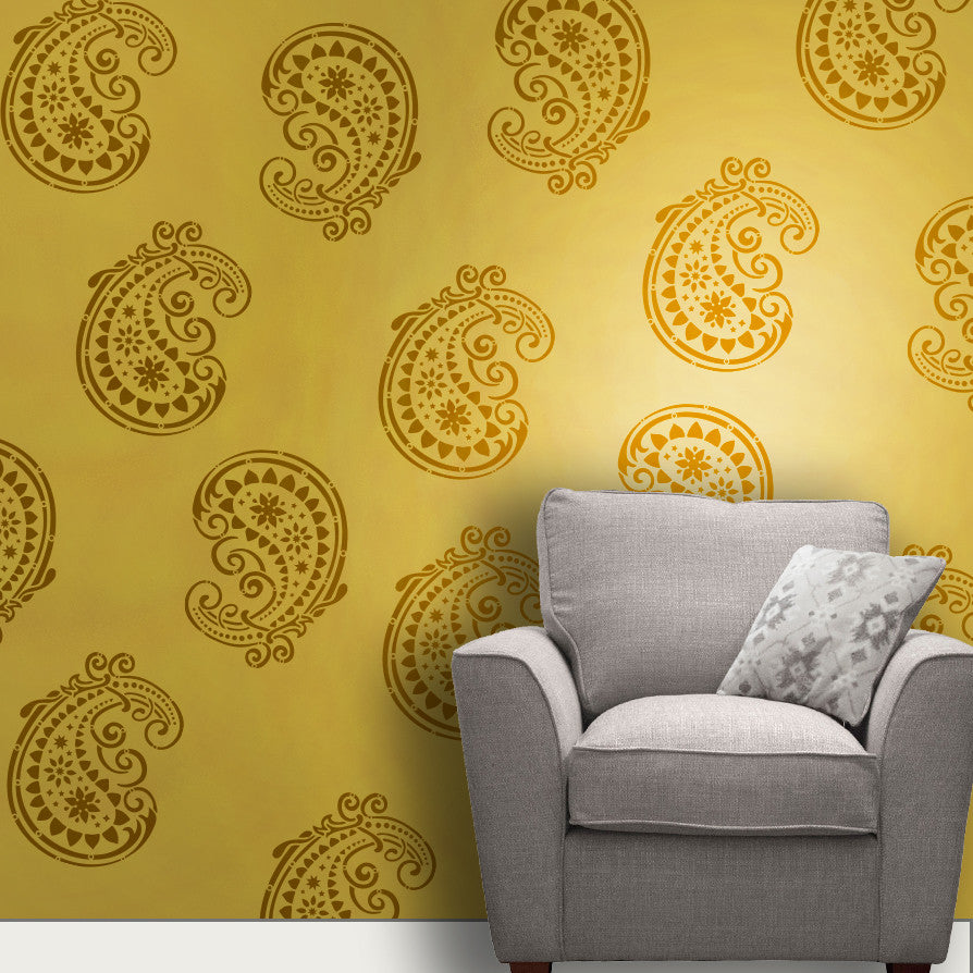 Online shopping india shop online for wall stencils wall indian paisleymotif stencil mm 03 amipublicfo Image collections