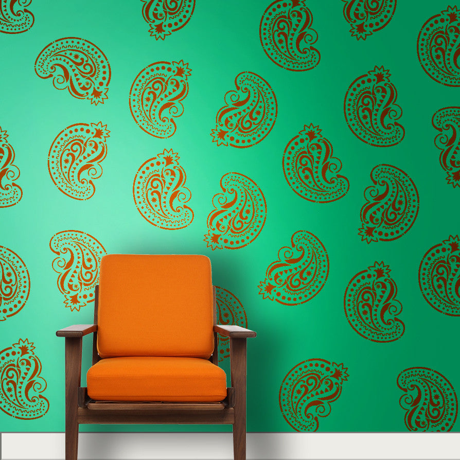 Online shopping india shop online for wall stencils wall indian paisleymotif stencil mm 01 amipublicfo Image collections