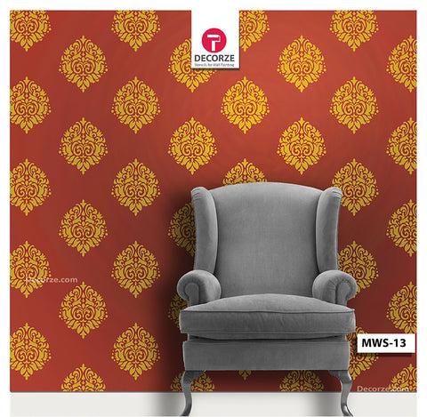 Living room traditional wall painting designs, Paisley, Motif Stencil, MWS-13