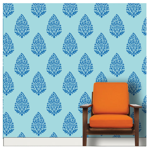 Floral Motif Stencil design for living room wall Painting ideas, MWS-17