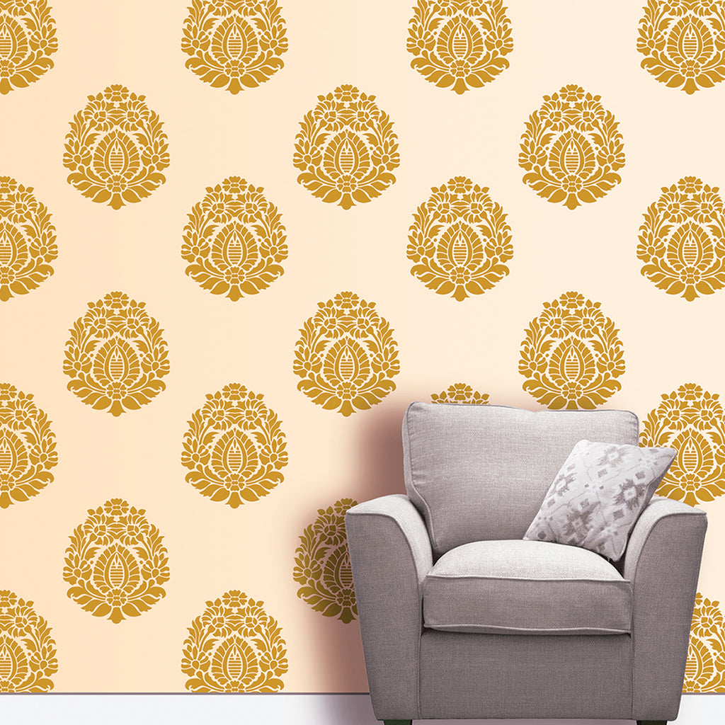 Flower Floral Motif Stencil Design For Living Room Wall Painting Ideas Mws 19 Reusable Wall Painting Stencils