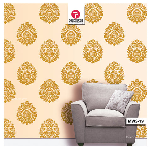 Flower Floral Motif Stencil design for living room wall Painting ideas, MWS-19