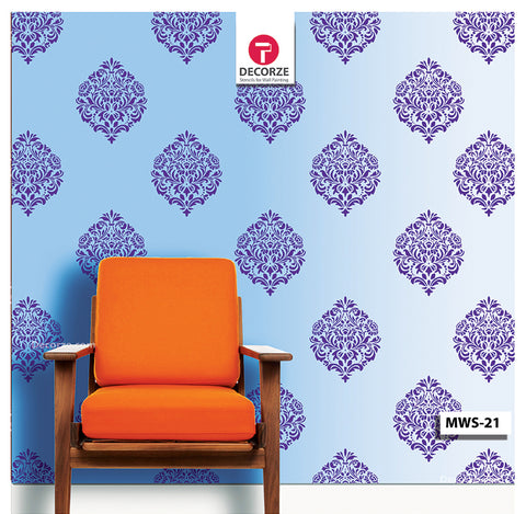Living room Motif painting ideas, Paisley, Motif Stencil, MWS-16