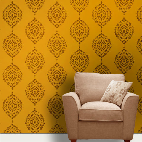 Retro look Motif wall Painting Designs, Reusable Retro Art on Wall, Motif Stencil, MWS-40