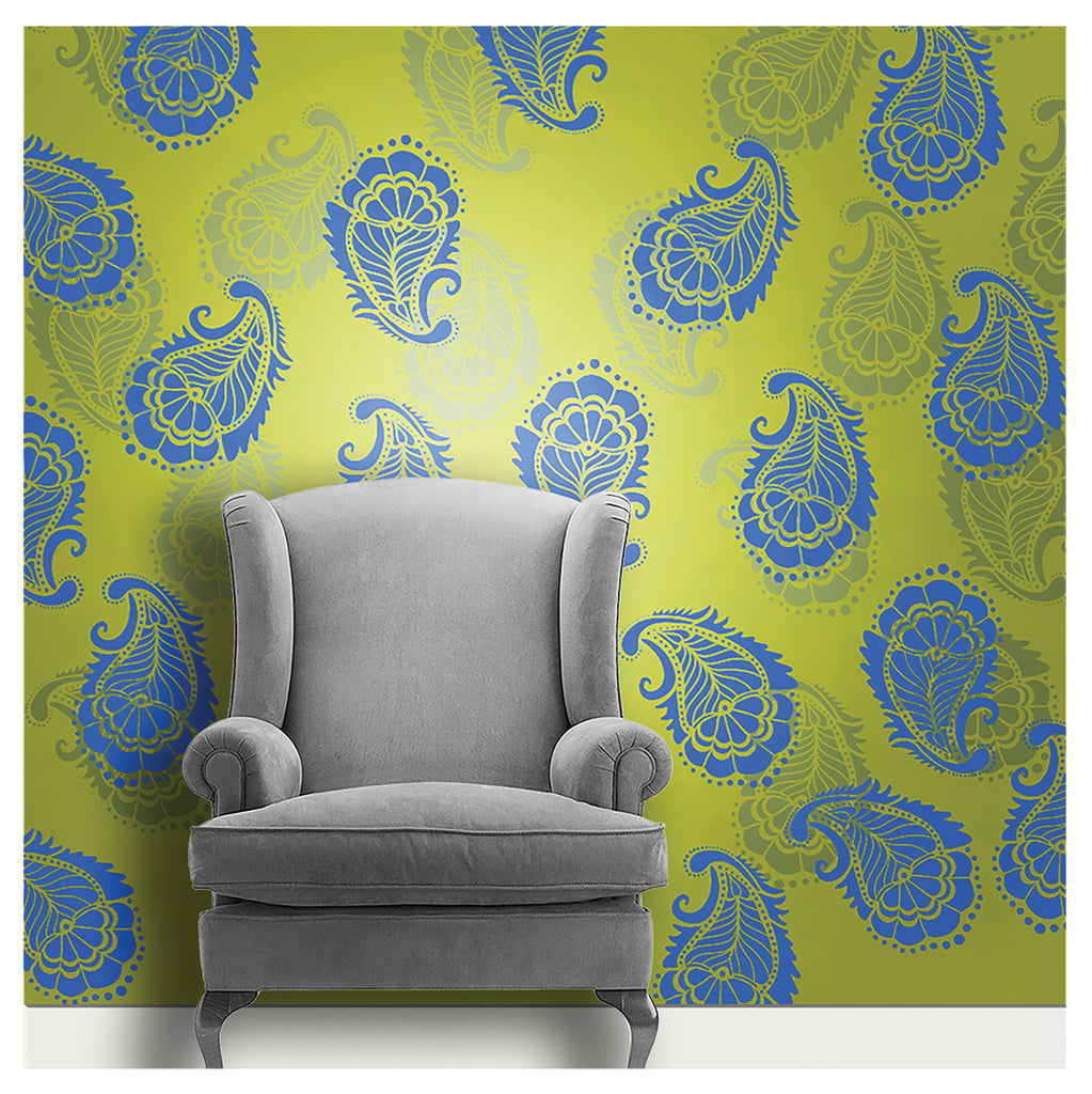 wall painting designs using decorze paisley stencils - MWS-40