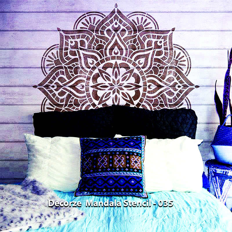 Mandala art stencil | home decor, wall decor, furniture painting, washable, reusable, flexible, art stencils | Decorze Mandala Stencils 035