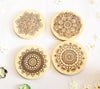 Maple wooden Mandala Coasters set of 4