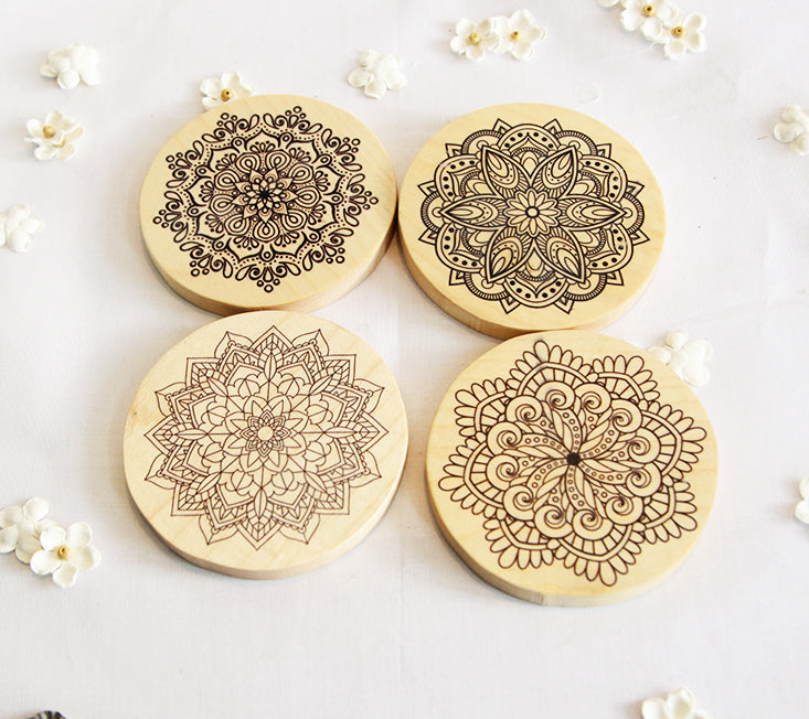 Wooden Mandala Coasters set of 4