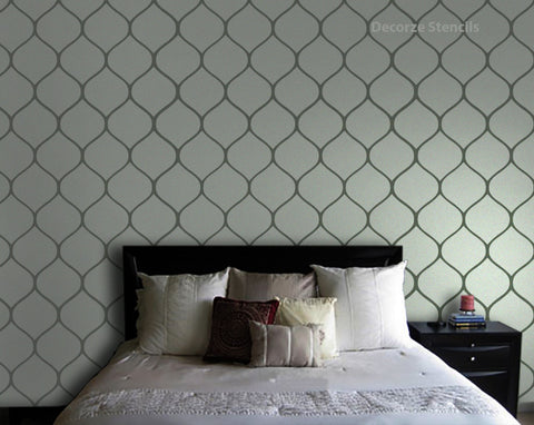 Bedroom Wall Painting Stencils, Moroccan pattern style, MS-107