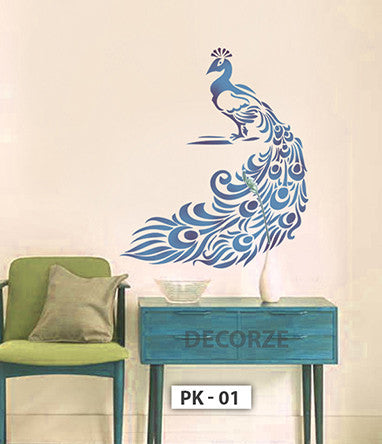 Peacock Stencil Customize Sizes